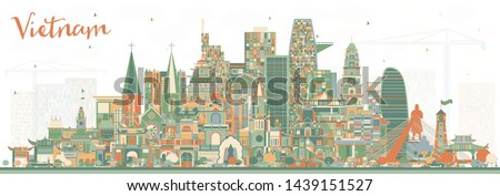 Vietnam City Skyline with Color Buildings. Vector Illustration. Tourism Concept with Historic Architecture. Vietnam Cityscape with Landmarks. Hanoi. Ho Chi Minh. Haiphong. Da Nang.