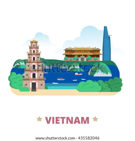 vietnam country flat cartoon