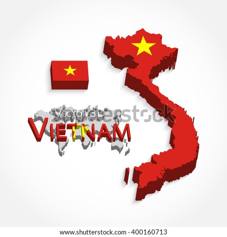 Vietnam 3D ( flag and map )( Transportation and tourism concept )