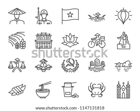 Vietnam icon set. Included icons as Vietnamese, street food , Pho noodle, communist, travel, landmarks and more.