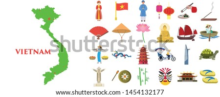 vietnam icons set flat set of