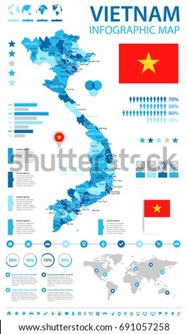 Vietnam infographic map and flag - vector illustration