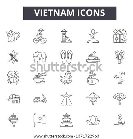 Vietnam line icons, signs set, vector. Vietnam outline concept, illustration: vietnam,travel,tourism,vietnamese,city,asia