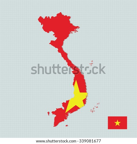 Vietnam map and flag