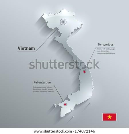 Vietnam map flag glass water card paper 3D vector