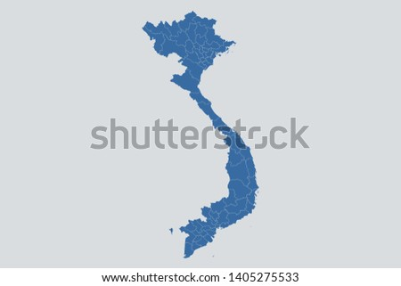 Vietnam map on gray background vector, Vietnam Map Outline Shape Blue on White Vector Illustration, Map of Asia. Symbol for your web site design map logo. app, ui, eps10.