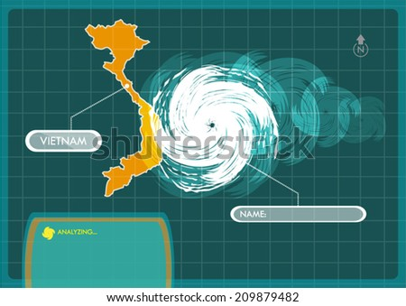 vietnam map with eye of typhoon