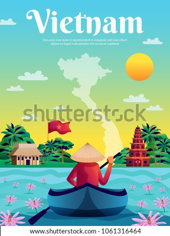 Vietnam poster with colored landscape map national flag and native in boat cartoon vector illustration