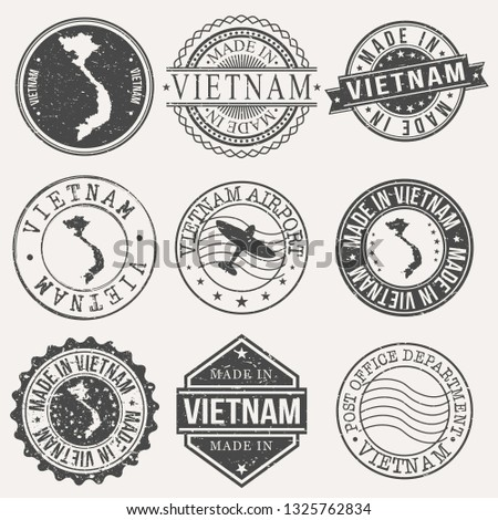 Vietnam Set of Stamps. Travel Stamp. Made In Product. Design Seals Old Style Insignia.