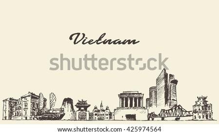 vietnam skyline  vintage vector