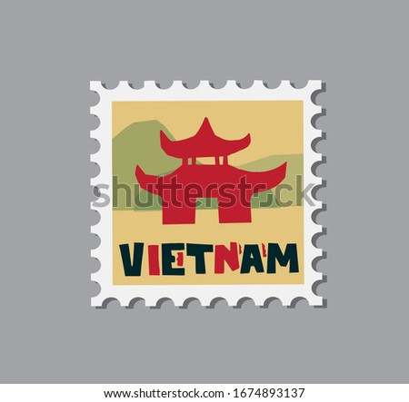 Vietnam typographic composition with a famous travel Vietnamese building. Vietnam hand drawn vector illustration isolated on yellow background. Post stamp design