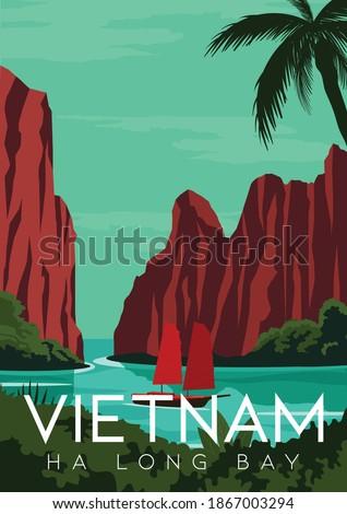 Vietnam Vector Illustration Background. Travel to Ha Long Bay Vietnam. Flat Cartoon Vector Illustration in Colored Style.
