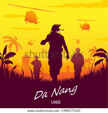 Vietnam War Da Nang 1965 vector illustration silhouette style. can be extendable and editable for poster, design element, t-shirt print, or any other purpose.