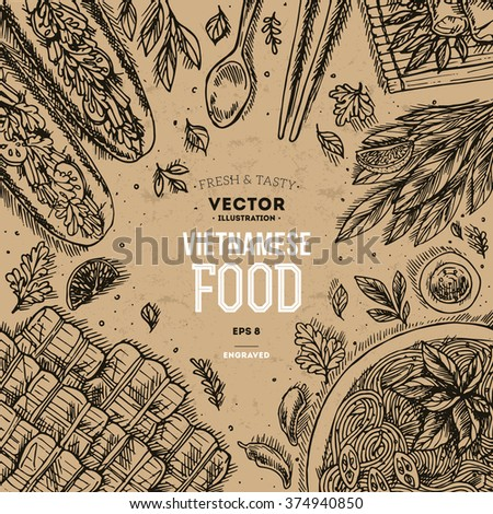 vietnamese food linear graphic