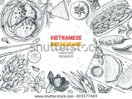 vietnamese food top view frame