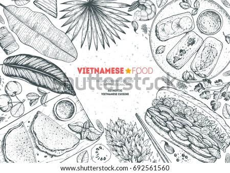 vietnamese food top view frame. ...