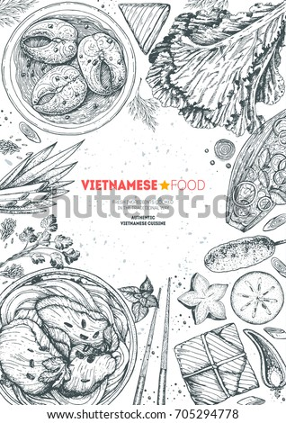 Vietnamese food vertical frame. A set of vietnamese dishes with caramelized fish, pho soup, buncha . Food menu design template. Vintage hand drawn sketch vector illustration. Engraved image.