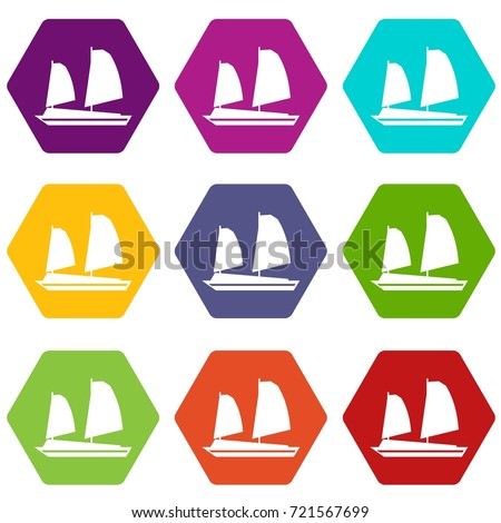 vietnamese junk boat icon set