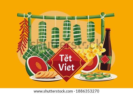 "Vietnamese new year concept. Translation ""Tet"": Lunar new year"