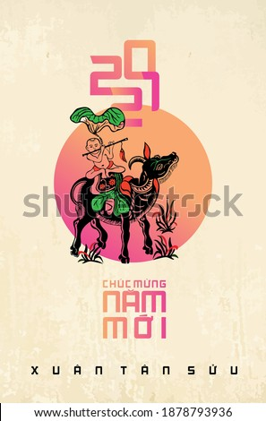Vietnamese traditional greeting card with craft style. (Translation: happy new year 2021, year of the Ox)