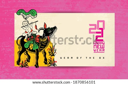 Vietnamese traditional greeting card with New Year 2021 - the Ox's year