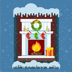 View from a winter snowy street into a room with a blazing Cristmas fireplace. Xmas and fire, home decoration, interior for celebration. Flat vector cartoon illustration.