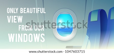 View from airplane. Airline passenger. Vacation destinations. Summer holiday. Tropical beach. Flat web vector banner.