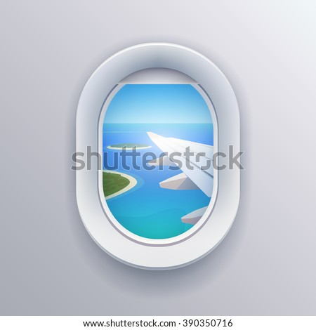 View from airplane. Window plane. Vacation destinations. Summer holiday. Tropical beach. Flat web vector illustration
