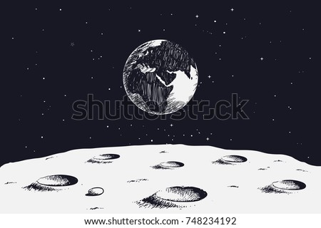 view from surface of the Moon to Earth.Hand drawn vector illustration stock photo