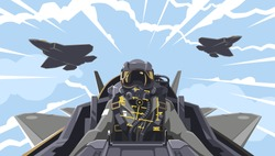 View from the aircraft cockpit on the pilot. Aircraft-fighter cockpit overview. Aerobatic team in the air. A new generation military fighter. Pilot of the future. Vector illustration EPS 10