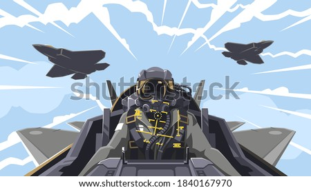 View from the aircraft cockpit on the pilot. Aircraft-fighter cockpit overview. Aerobatic team in the air. A new generation military fighter. Pilot of the future. Vector illustration EPS 10 Сток-фото ©