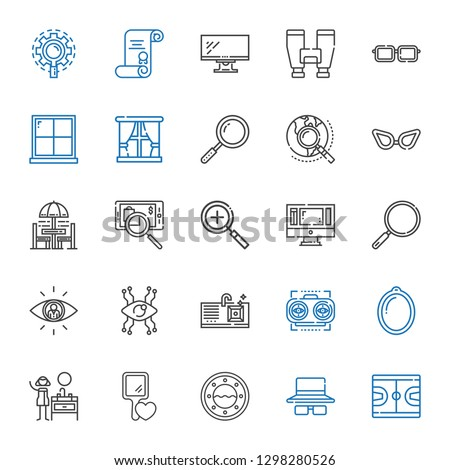view icons set. Collection of view with basketball, sunglasses, window, hand mirror, sink, vision, searching, loupe, monitor, zoom in, chair and table. Editable and scalable view icons. #1298280526
