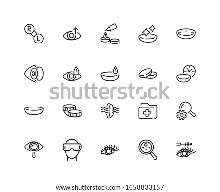 View icons. Set of twenty line icons. Eyes care, contact lens, VR glasses. View concept. Vector illustration can be used for topics like sight, vision, ophthalmology.