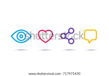 View, like, share, comment linear icons on white