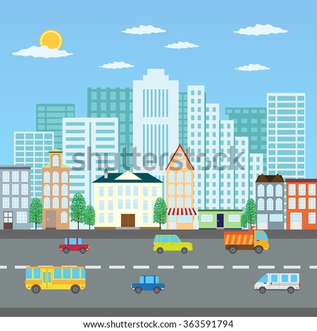 View of a city in the summer and road with cars