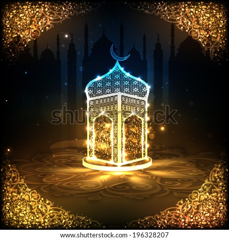 View of a shiny mosque in night background on beautiful golden floral design decorated frame for holy month of muslim community Ramadan Kareem.  #196328207