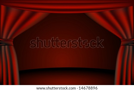 View of a theater stage through open curtains