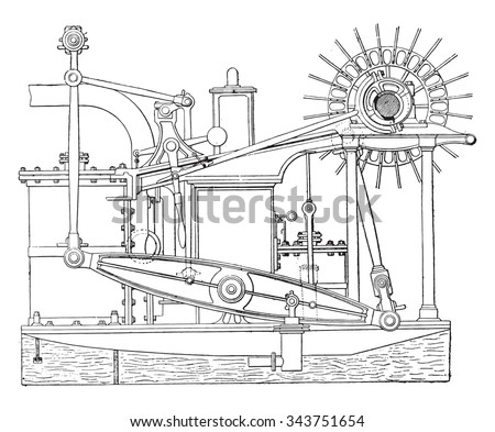 view of an old beam engine