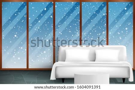 view of bedroom in the snow day