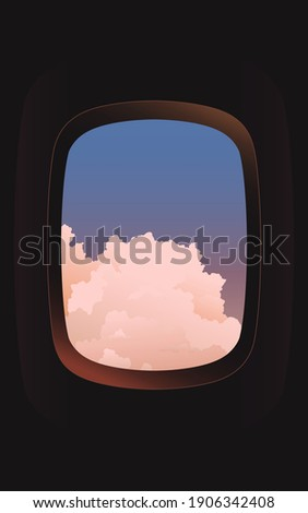 View of big clouds from an airplane window, aesthetic cool tint pastel color palette, nostalgis feeling Photo stock ©