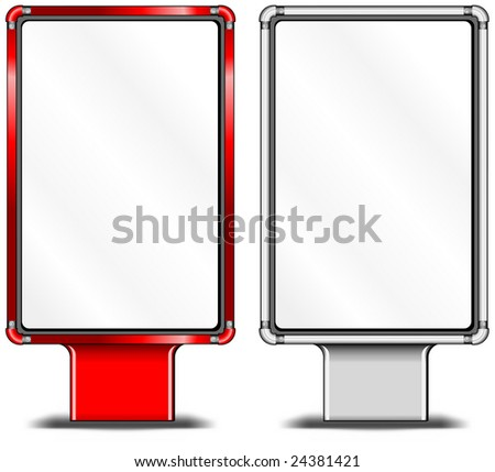 View of blank vertical billboards for bus stop advertising, construction, illustration