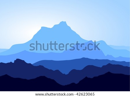 view of blue mountains   vector