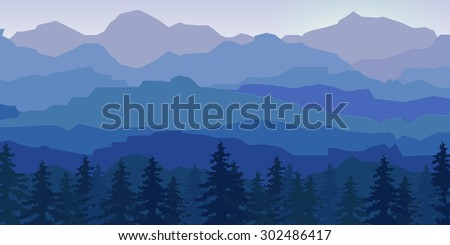 view of blue mountains with