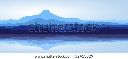 View of blue mountains with reflection in lake - panorama (vector)