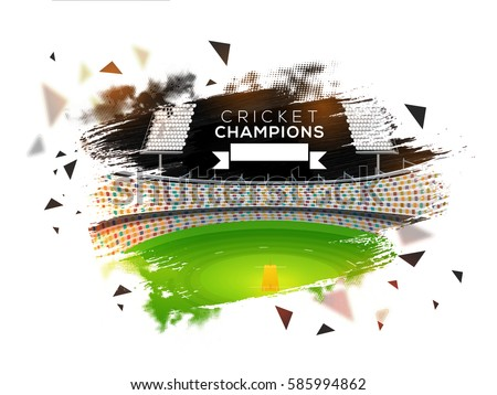 View of Cricket Night Stadium background with abstract brush stroke effects.