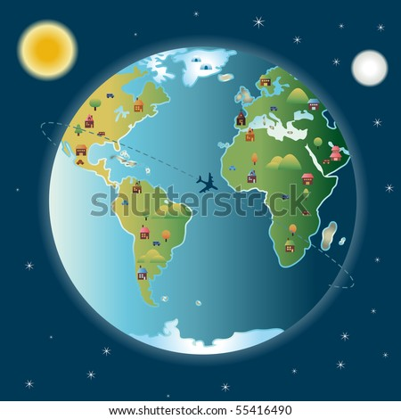 View of Earth since universe with trees, houses, cars and mountains, stars, sun and moon
