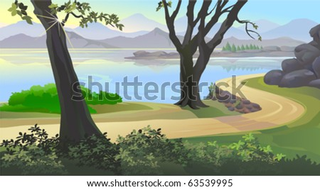VIEW OF HILLSIDE LAKE AND  SUN RAYS  BEAMING THROUGH TREE TRUNK