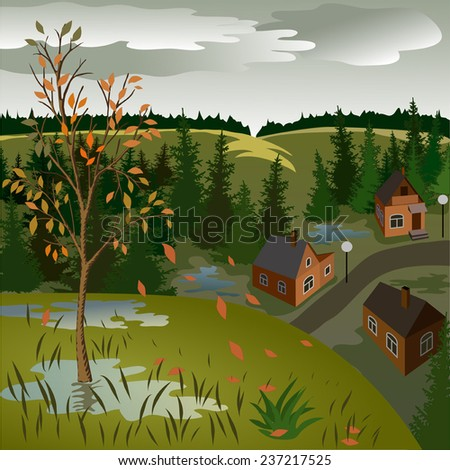 View of landscape of autumn town from hill. Day, sky, skyline, forest, houses, tree, valley.