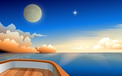 view of moon and sunrise in the morning in the ocean on wooden boat