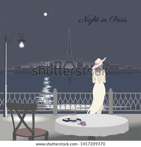 View of Paris cityscape from street cafe. Night scene. Vector illustration.